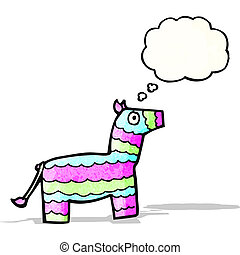 cartoon pinata with thought bubble