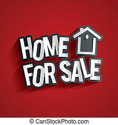 Home For Sale Design On Red Background vector illustration