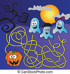 Halloween Maze for children with funny pumpkin