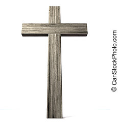 Wooden Crucifix - A wooden crucifix or cross made of thick...