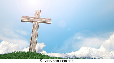 Crucifix On A Grassy Hill And Blue Sky - A wooden crucifix...