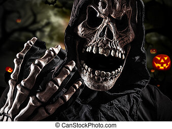 Grim reaper on a dark background, halloween background.