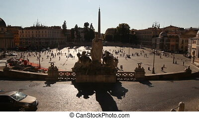 Piazza del Popolo square at sunset in Rome