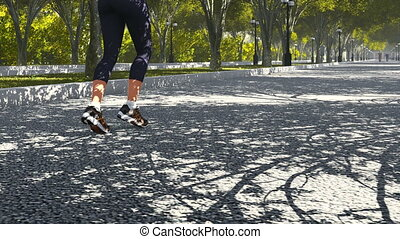 Young woman jogging in the park - Jogging in the summer park...