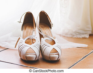 Elegant bridal shoes - Elegant bridal shoes detail in...
