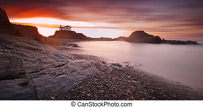 Panoramic seascape of Virxe do Porto chapel in Valdovino,...