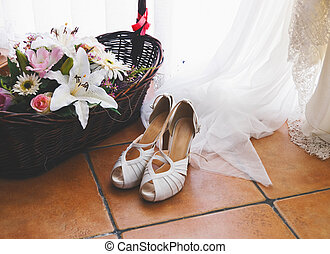 Elegant bridal shoes in horizontal composition