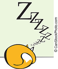 Sleeping Cat - Cartoon of a sleeping rolled up into a ball