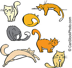Several Cats - Cartoon image sheet of various cats in...