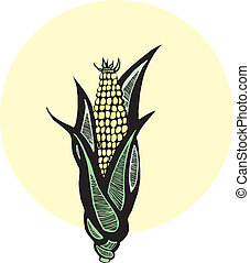 Corn - Ear of corn depicted in the style of woodcut.