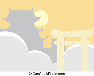 Tori Gate - Japanese tori gate with sun and clouds