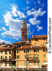 Houses and Lamberti Tower - Verona Italy - Houses...