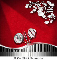 Music and Food - Menu Design - Red velvet background with...