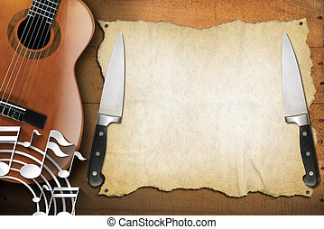 Music and Food - Menu Design - Acoustic guitar on wooden...