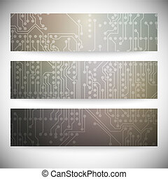 Set of horizontal banners Microchip backgrounds, electronics...