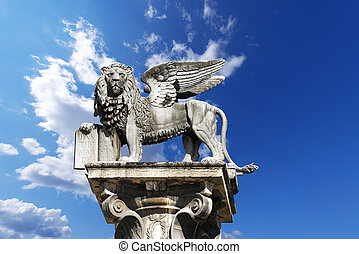 Winged St Mark Lion in Verona - Italy - The winged lion of...