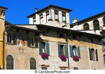 Old Buildings - Piazza delle Erbe - Verona - Old houses with...
