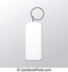 Vector Blank Square Keychain with Ring and Chain for Key...