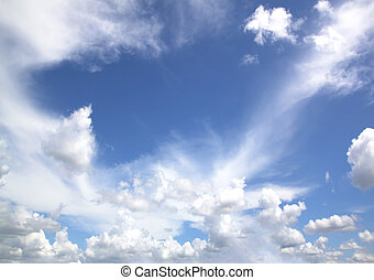 Sky Blue - blue sky with clouds close up natural background.