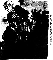 Death - A lithograph image of the specter of death