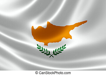 Close-up of Republic of Cyprus' Flag - 3D rendering of the...