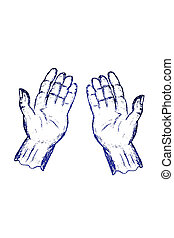 doodle praying position hand
