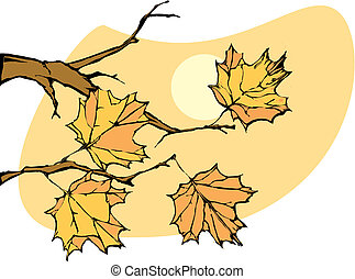 Autumn Leaves - Four leaves on a tree in late autumn