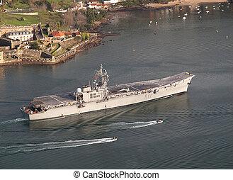 FERROL, SPAIN-FEBRUARY 08: Aircraft carrier Principe de...