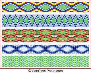 Set of five seamless rhombic patterns - Set of five various...