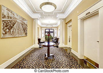 Long hallway in luxury residential building. Tacoma, WA -...