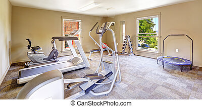 Gym room for residents in Tacomea apartment building...
