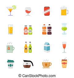 Beverage full color icon set - Beverage full color flat...