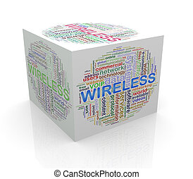 3d cube word tags wordcloud of wireless