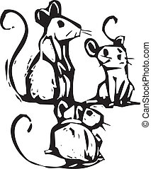 Three Mice - Three mice sitting together listening for...
