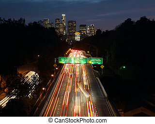 Downtown Bound - Cars streaking towards downtown Los Angeles...