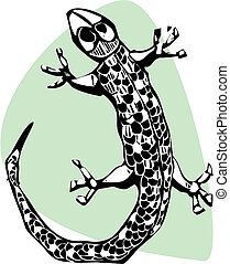 Gecko - A simple lizard done in a woodcut style.