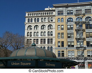 Union Square - subway pavillion and buildings on Union...