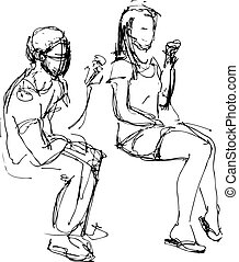 sketch of a guy and a girl eating ice cream
