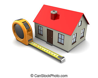 house planning - 3d illustration of tape meter and house...