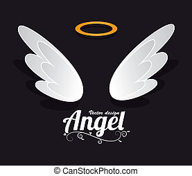 Angel design over black background