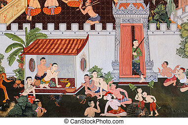 Thai mural painting - Traditional Thai mural painting on...