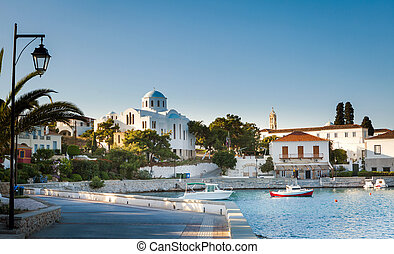 Spetses promenade and cathedral complex