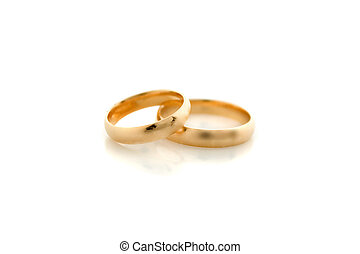Two wedding rings - Close-up of two golden wedding rings...