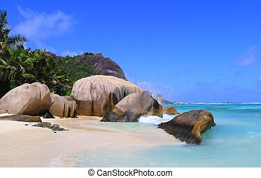 Beach - Famous beach, anse source dargent, at La Digue,...