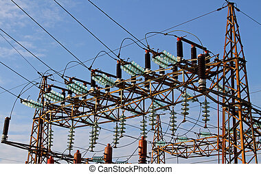 insulators in a power plant with high voltage cables -...
