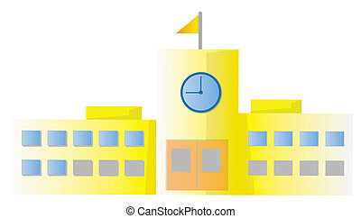 school building isolate in a white background