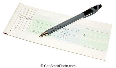 pluma, libro,  cheque