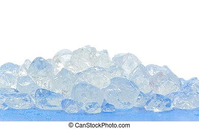 Chunks of crushed ice on blue surface and white background