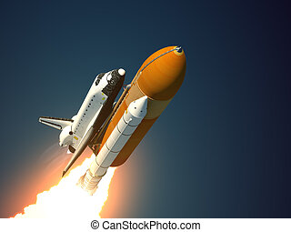 Space Shuttle Takes Off. Realistic 3D Scene.