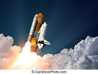 Space Shuttle Launch - Realistic 3d Scene Of Space Shuttle...